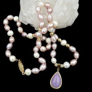 Jewelry - Lavender Pearl 14K Gold Lavender Jade Necklace